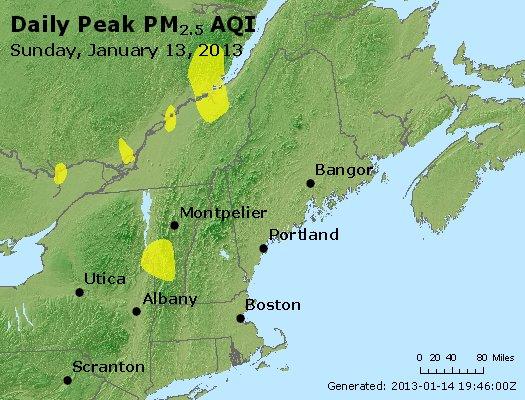 Peak Particles PM<sub>2.5</sub> (24-hour) - http://files.airnowtech.org/airnow/2013/20130113/peak_pm25_vt_nh_ma_ct_ri_me.jpg