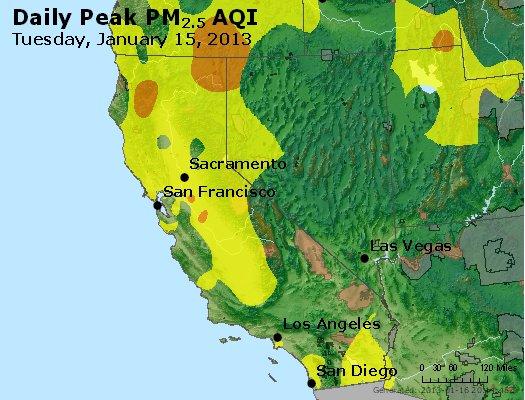 Peak Particles PM<sub>2.5</sub> (24-hour) - http://files.airnowtech.org/airnow/2013/20130115/peak_pm25_ca_nv.jpg
