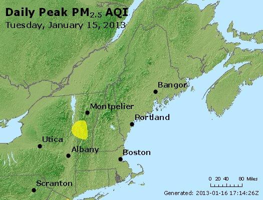 Peak Particles PM<sub>2.5</sub> (24-hour) - http://files.airnowtech.org/airnow/2013/20130115/peak_pm25_vt_nh_ma_ct_ri_me.jpg