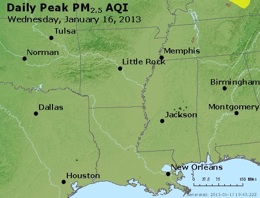 Peak Particles PM<sub>2.5</sub> (24-hour) - http://files.airnowtech.org/airnow/2013/20130116/peak_pm25_ar_la_ms.jpg