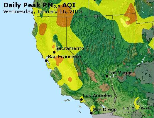 Peak Particles PM<sub>2.5</sub> (24-hour) - http://files.airnowtech.org/airnow/2013/20130116/peak_pm25_ca_nv.jpg