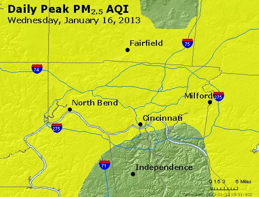 Peak Particles PM<sub>2.5</sub> (24-hour) - http://files.airnowtech.org/airnow/2013/20130116/peak_pm25_cincinnati_oh.jpg