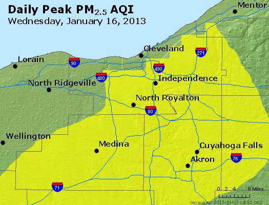 Peak Particles PM<sub>2.5</sub> (24-hour) - http://files.airnowtech.org/airnow/2013/20130116/peak_pm25_cleveland_oh.jpg