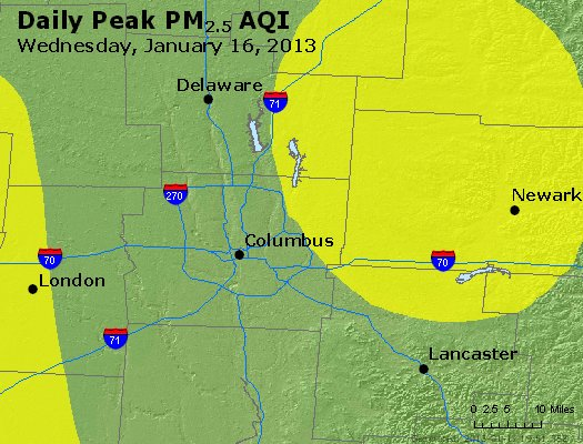 Peak Particles PM<sub>2.5</sub> (24-hour) - http://files.airnowtech.org/airnow/2013/20130116/peak_pm25_columbus_oh.jpg