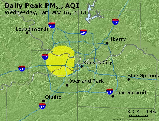 Peak Particles PM<sub>2.5</sub> (24-hour) - http://files.airnowtech.org/airnow/2013/20130116/peak_pm25_kansascity_mo.jpg