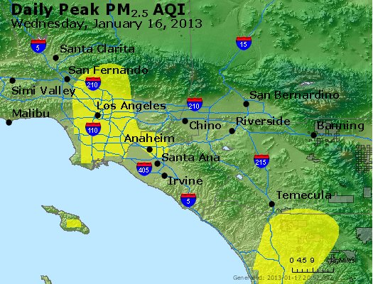 Peak Particles PM<sub>2.5</sub> (24-hour) - http://files.airnowtech.org/airnow/2013/20130116/peak_pm25_losangeles_ca.jpg