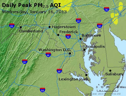 Peak Particles PM<sub>2.5</sub> (24-hour) - http://files.airnowtech.org/airnow/2013/20130116/peak_pm25_maryland.jpg