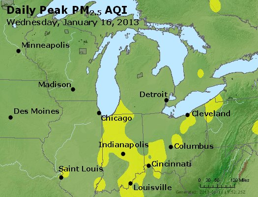 Peak Particles PM<sub>2.5</sub> (24-hour) - http://files.airnowtech.org/airnow/2013/20130116/peak_pm25_mi_in_oh.jpg