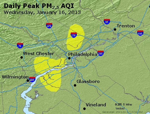 Peak Particles PM<sub>2.5</sub> (24-hour) - http://files.airnowtech.org/airnow/2013/20130116/peak_pm25_philadelphia_pa.jpg