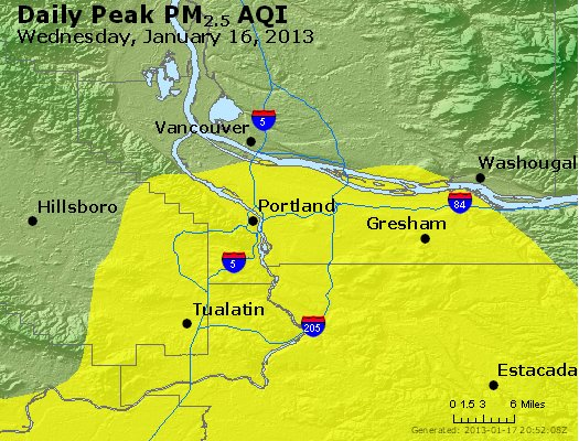 Peak Particles PM<sub>2.5</sub> (24-hour) - http://files.airnowtech.org/airnow/2013/20130116/peak_pm25_portland_or.jpg