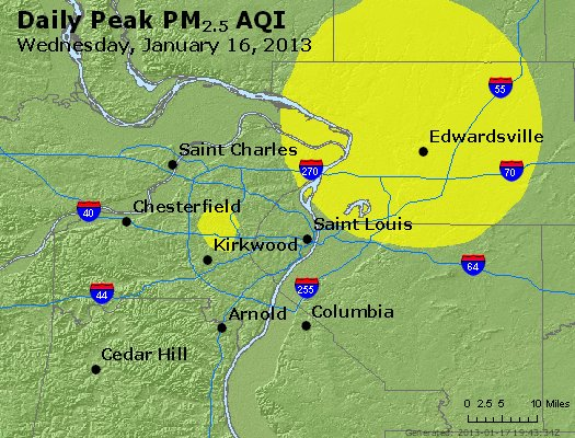 Peak Particles PM<sub>2.5</sub> (24-hour) - http://files.airnowtech.org/airnow/2013/20130116/peak_pm25_stlouis_mo.jpg