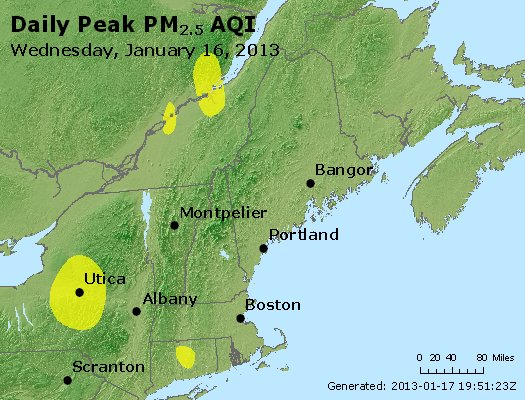Peak Particles PM<sub>2.5</sub> (24-hour) - http://files.airnowtech.org/airnow/2013/20130116/peak_pm25_vt_nh_ma_ct_ri_me.jpg