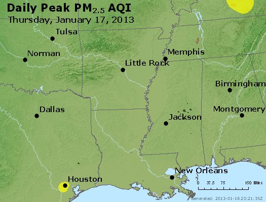 Peak Particles PM<sub>2.5</sub> (24-hour) - http://files.airnowtech.org/airnow/2013/20130117/peak_pm25_ar_la_ms.jpg