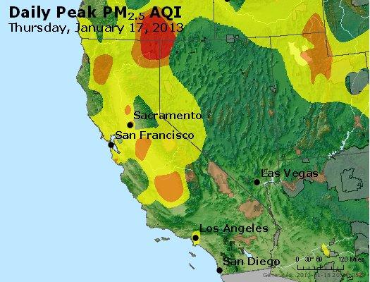 Peak Particles PM<sub>2.5</sub> (24-hour) - http://files.airnowtech.org/airnow/2013/20130117/peak_pm25_ca_nv.jpg