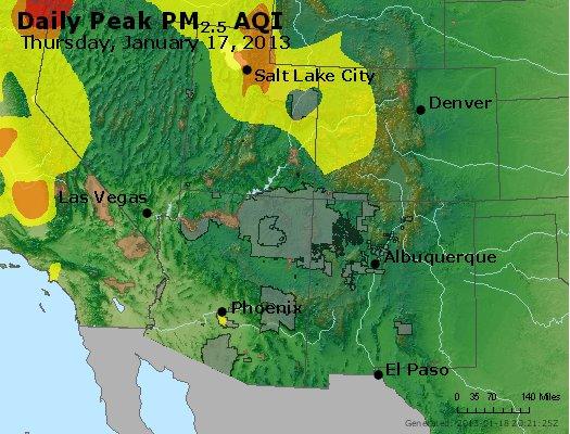 Peak Particles PM<sub>2.5</sub> (24-hour) - http://files.airnowtech.org/airnow/2013/20130117/peak_pm25_co_ut_az_nm.jpg