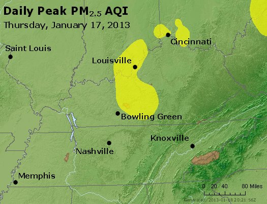Peak Particles PM<sub>2.5</sub> (24-hour) - http://files.airnowtech.org/airnow/2013/20130117/peak_pm25_ky_tn.jpg