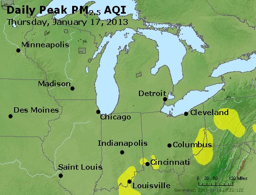 Peak Particles PM<sub>2.5</sub> (24-hour) - http://files.airnowtech.org/airnow/2013/20130117/peak_pm25_mi_in_oh.jpg