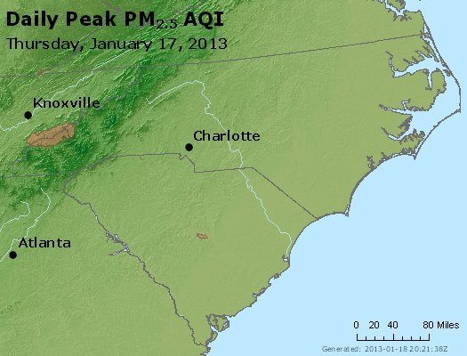 Peak Particles PM<sub>2.5</sub> (24-hour) - http://files.airnowtech.org/airnow/2013/20130117/peak_pm25_nc_sc.jpg