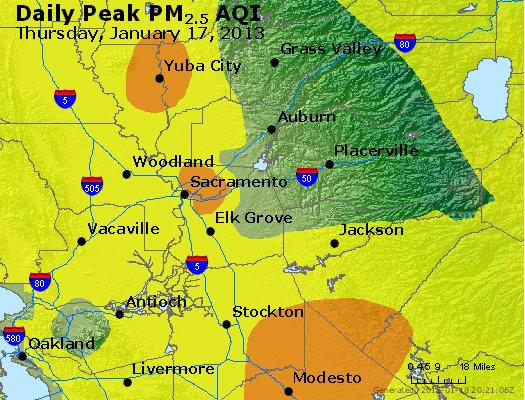 Peak Particles PM<sub>2.5</sub> (24-hour) - http://files.airnowtech.org/airnow/2013/20130117/peak_pm25_sacramento_ca.jpg