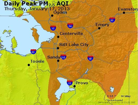 Peak Particles PM<sub>2.5</sub> (24-hour) - http://files.airnowtech.org/airnow/2013/20130117/peak_pm25_saltlakecity_ut.jpg