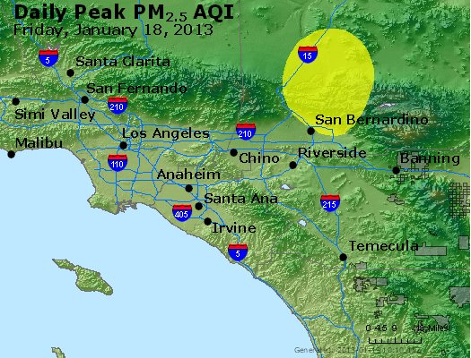 Peak Particles PM<sub>2.5</sub> (24-hour) - http://files.airnowtech.org/airnow/2013/20130118/peak_pm25_losangeles_ca.jpg