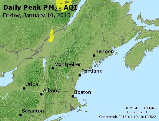 Peak Particles PM<sub>2.5</sub> (24-hour) - http://files.airnowtech.org/airnow/2013/20130118/peak_pm25_vt_nh_ma_ct_ri_me.jpg