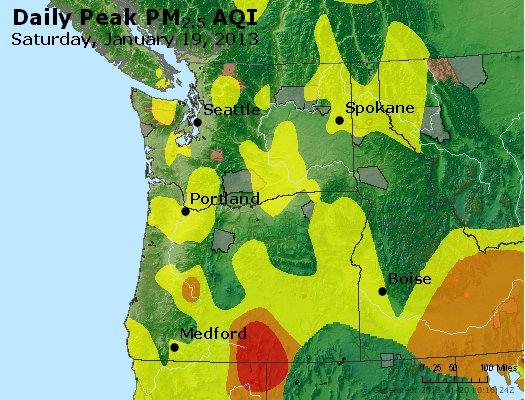 Peak Particles PM<sub>2.5</sub> (24-hour) - http://files.airnowtech.org/airnow/2013/20130119/peak_pm25_wa_or.jpg