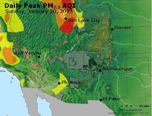 Peak Particles PM<sub>2.5</sub> (24-hour) - http://files.airnowtech.org/airnow/2013/20130120/peak_pm25_co_ut_az_nm.jpg