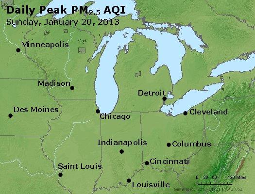Peak Particles PM<sub>2.5</sub> (24-hour) - http://files.airnowtech.org/airnow/2013/20130120/peak_pm25_mi_in_oh.jpg