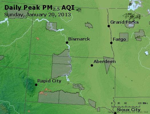 Peak Particles PM<sub>2.5</sub> (24-hour) - http://files.airnowtech.org/airnow/2013/20130120/peak_pm25_nd_sd.jpg