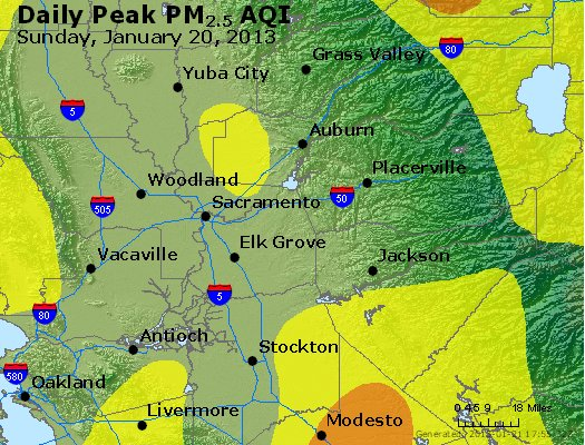Peak Particles PM<sub>2.5</sub> (24-hour) - http://files.airnowtech.org/airnow/2013/20130120/peak_pm25_sacramento_ca.jpg