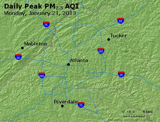 Peak Particles PM<sub>2.5</sub> (24-hour) - http://files.airnowtech.org/airnow/2013/20130121/peak_pm25_atlanta_ga.jpg