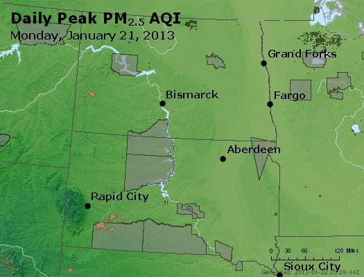 Peak Particles PM<sub>2.5</sub> (24-hour) - http://files.airnowtech.org/airnow/2013/20130121/peak_pm25_nd_sd.jpg