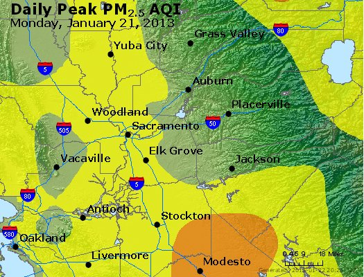 Peak Particles PM<sub>2.5</sub> (24-hour) - http://files.airnowtech.org/airnow/2013/20130121/peak_pm25_sacramento_ca.jpg