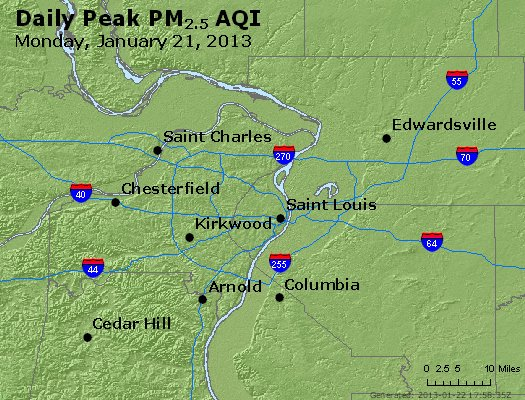 Peak Particles PM<sub>2.5</sub> (24-hour) - http://files.airnowtech.org/airnow/2013/20130121/peak_pm25_stlouis_mo.jpg