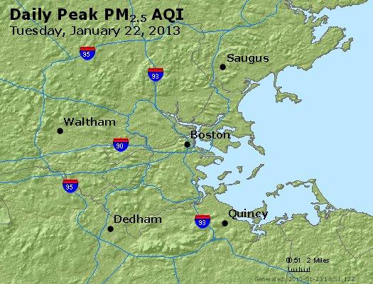 Peak Particles PM<sub>2.5</sub> (24-hour) - http://files.airnowtech.org/airnow/2013/20130122/peak_pm25_boston_ma.jpg