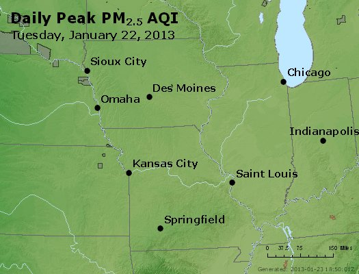 Peak Particles PM<sub>2.5</sub> (24-hour) - http://files.airnowtech.org/airnow/2013/20130122/peak_pm25_ia_il_mo.jpg