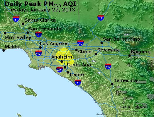 Peak Particles PM<sub>2.5</sub> (24-hour) - http://files.airnowtech.org/airnow/2013/20130122/peak_pm25_losangeles_ca.jpg