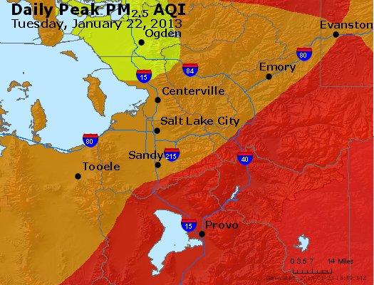 Peak Particles PM<sub>2.5</sub> (24-hour) - http://files.airnowtech.org/airnow/2013/20130122/peak_pm25_saltlakecity_ut.jpg