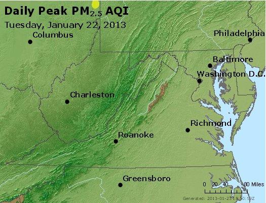 Peak Particles PM<sub>2.5</sub> (24-hour) - http://files.airnowtech.org/airnow/2013/20130122/peak_pm25_va_wv_md_de_dc.jpg