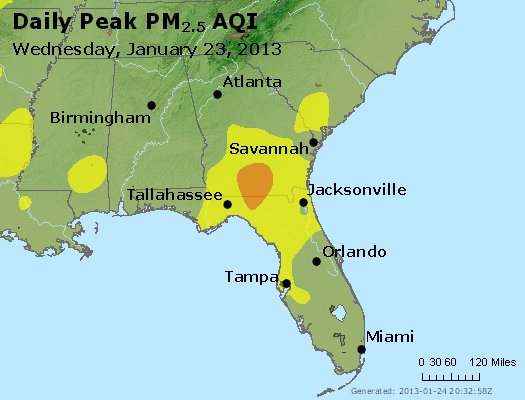 Peak Particles PM<sub>2.5</sub> (24-hour) - http://files.airnowtech.org/airnow/2013/20130123/peak_pm25_al_ga_fl.jpg