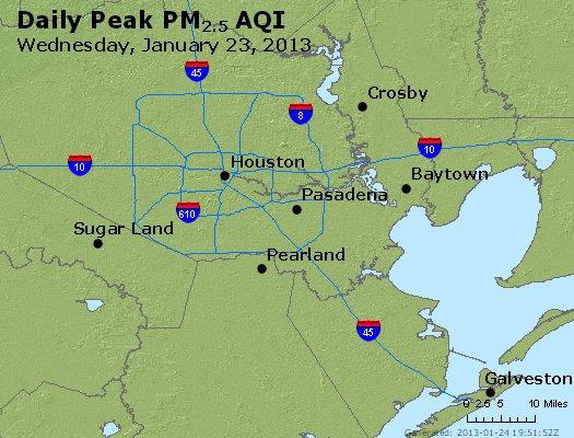 Peak Particles PM<sub>2.5</sub> (24-hour) - http://files.airnowtech.org/airnow/2013/20130123/peak_pm25_houston_tx.jpg