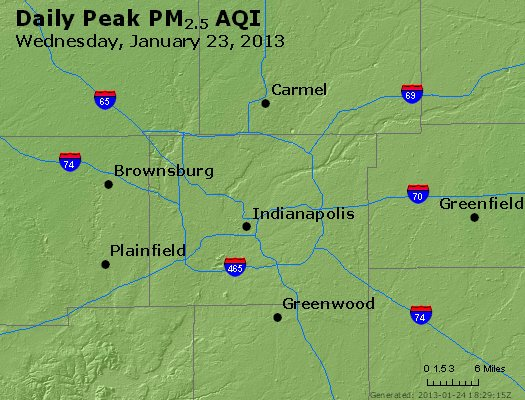 Peak Particles PM<sub>2.5</sub> (24-hour) - http://files.airnowtech.org/airnow/2013/20130123/peak_pm25_indianapolis_in.jpg