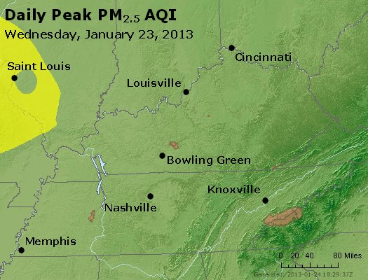 Peak Particles PM<sub>2.5</sub> (24-hour) - http://files.airnowtech.org/airnow/2013/20130123/peak_pm25_ky_tn.jpg