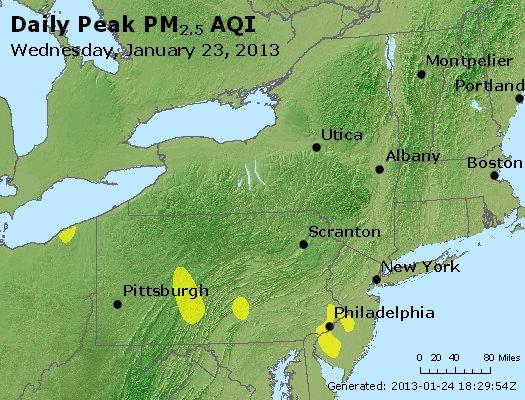 Peak Particles PM<sub>2.5</sub> (24-hour) - http://files.airnowtech.org/airnow/2013/20130123/peak_pm25_ny_pa_nj.jpg