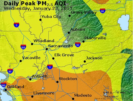 Peak Particles PM<sub>2.5</sub> (24-hour) - http://files.airnowtech.org/airnow/2013/20130123/peak_pm25_sacramento_ca.jpg