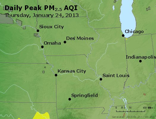 Peak Particles PM<sub>2.5</sub> (24-hour) - http://files.airnowtech.org/airnow/2013/20130124/peak_pm25_ia_il_mo.jpg