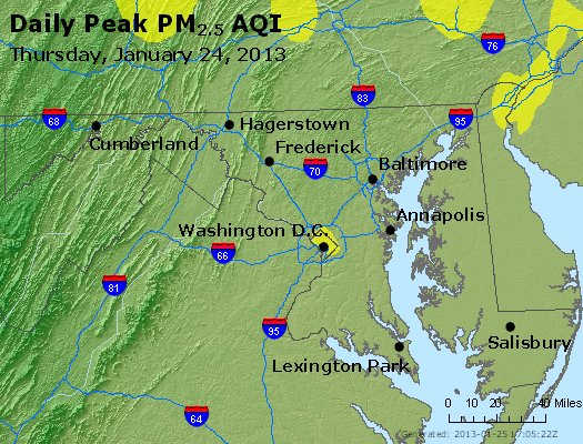 Peak Particles PM<sub>2.5</sub> (24-hour) - http://files.airnowtech.org/airnow/2013/20130124/peak_pm25_maryland.jpg