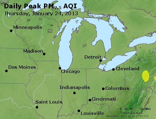 Peak Particles PM<sub>2.5</sub> (24-hour) - http://files.airnowtech.org/airnow/2013/20130124/peak_pm25_mi_in_oh.jpg