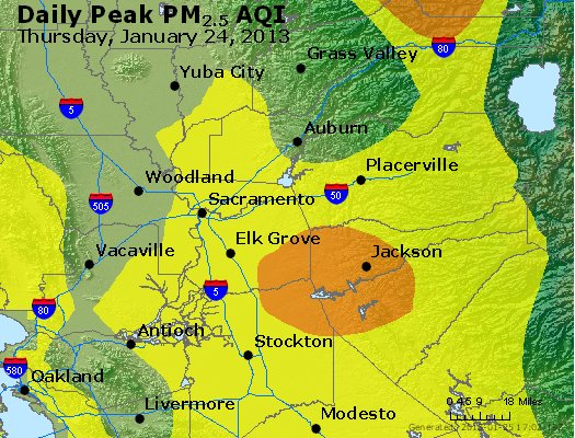 Peak Particles PM<sub>2.5</sub> (24-hour) - http://files.airnowtech.org/airnow/2013/20130124/peak_pm25_sacramento_ca.jpg